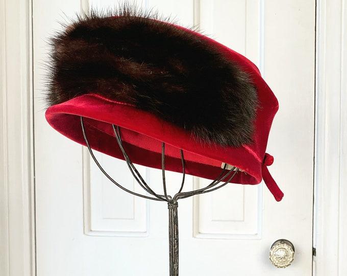Vintage 1960s cranberry red velvet and fur hat | fur pillbox hat | stylish fur and velvet hat | 60s fashion hat | Size M
