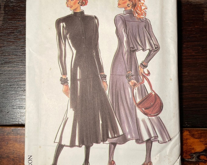 Vintage 1980s New Look dress sewing pattern 6018 suitable for knits, Size 8 - 18