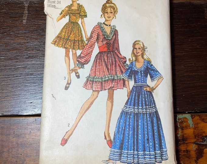 Vintage 1970 Simplicity sewing pattern 8875 for misses dress with three necklines, cottage core dress pattern, Size 12