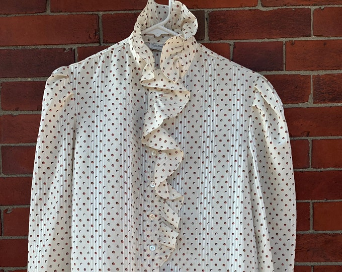 Vintage 70s Evan-Picone cream color ruffle blouse with polka dot print and puff sleeves, Size L