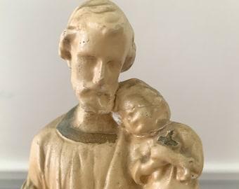 Vintage small chalk ware Saint Joseph statue, religious statue