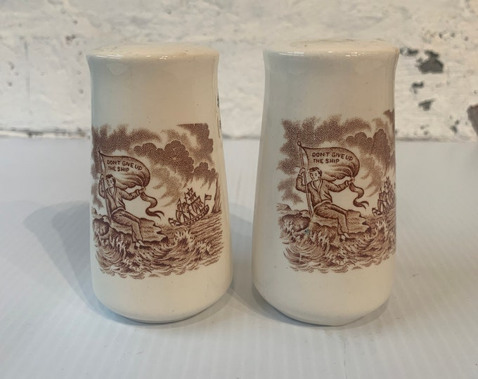 Vintage 'Don't Give Up the Ship' salt and pepper shakers