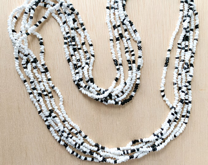 Vintage black and white multi strand chip bead necklace, career jewelry