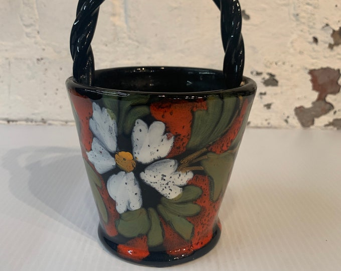Vintage small hand painted Italian planter with handle