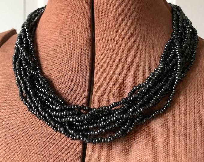 Vintage Trifari black multi-strand seed bead collar necklace, elegant minimalist necklace