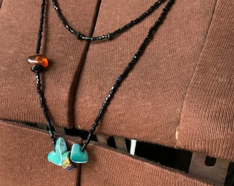 Vintage handmade long black seed bead necklace with natural stone and amber beads, boho jewelry, delicate necklace