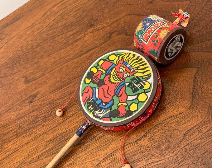 Japanese den-den daiko pellet drum hand drum, colorful hand drum, Japanese collectible