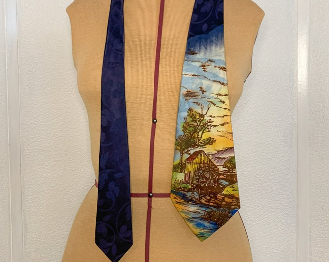 """Vintage 40s 50s necktie with hand-painted grist mill or water wheel scene, 4.5"""" x 47"""""""