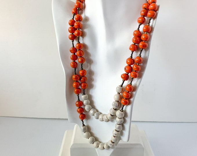 Vintage earthy pottery bead necklace with hand-formed orange and cream colored bead, boho jewelry, lagenlook fashion