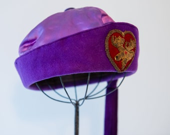 Vintage Royal Order of the Moose purple fez hat with embroidered moose, long tassel and rhinestone tassel pin, 7 3/8