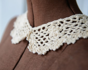 Vintage 60s NOS cream color crocheted collar, sweater collar