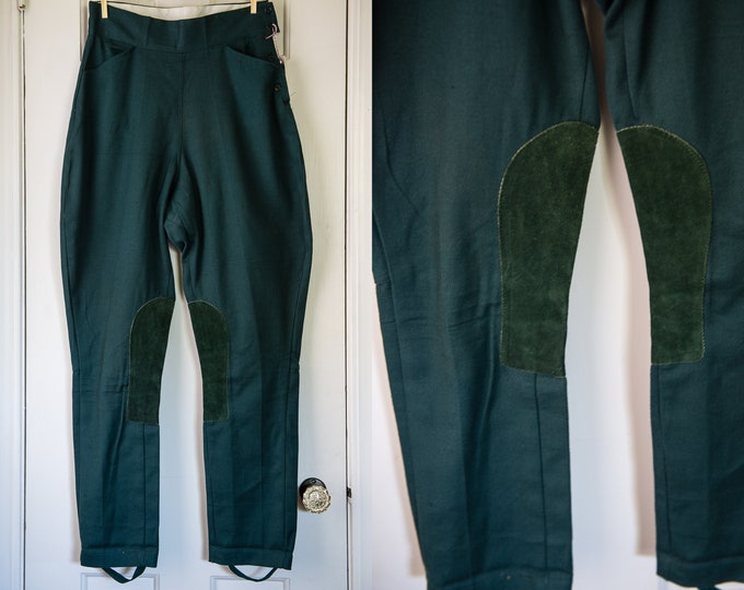 Vintage Hunter Green Equestrian Riding Pants or Jodhpurs With Stirrups and Reinforced Suede Leg Patches | Size XS