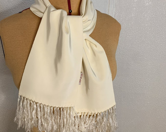 Vintage 50s 60s cream white fringed scarf, formal scarf, tuxedo scarf