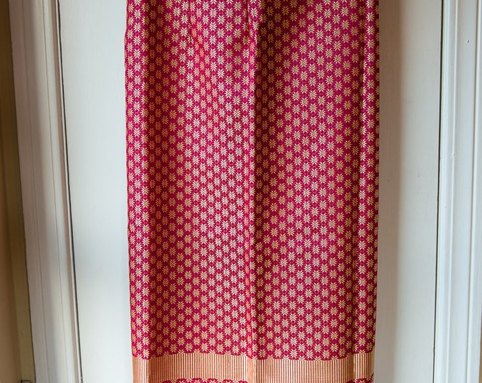 Handmade dark red Indian fabric wrap maxi skirt with metallic gold design details | Size M/L