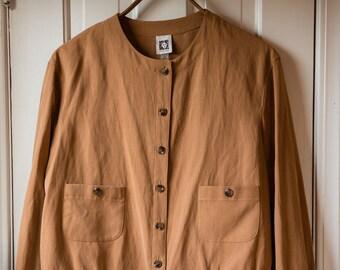 Anne Klein dark gold cropped boxy jacket with banded waist and wrists   blazer   Size XL