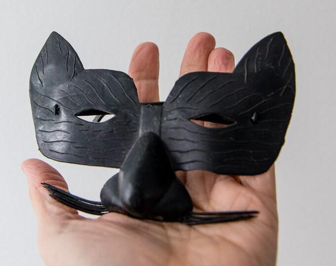 Vintage black plastic cat mask glasses, Halloween mask, made in Hong Kong