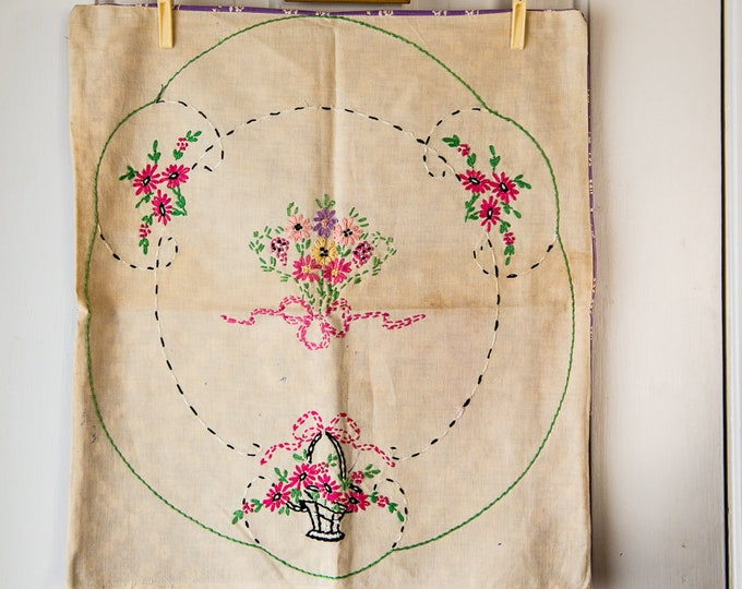 "Vintage shabby chic embroidered pillow cover with salvaged fabric back | destash project crafting materials | 16"" x 18"""