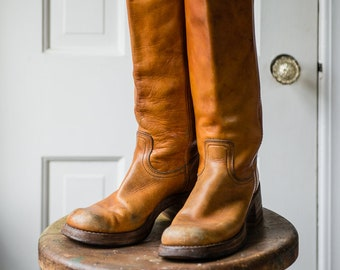 Vintage 1970s women's Frye Campus Boot in honey brown | Made in USA | size 5 1/2