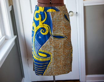 Handmade African print fabric skirt | blue yellow orange | Size S