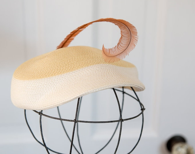 Vintage 50s yellow and cream woven pillbox hat with feather embellishment, fashion hat, Debway, The May Co