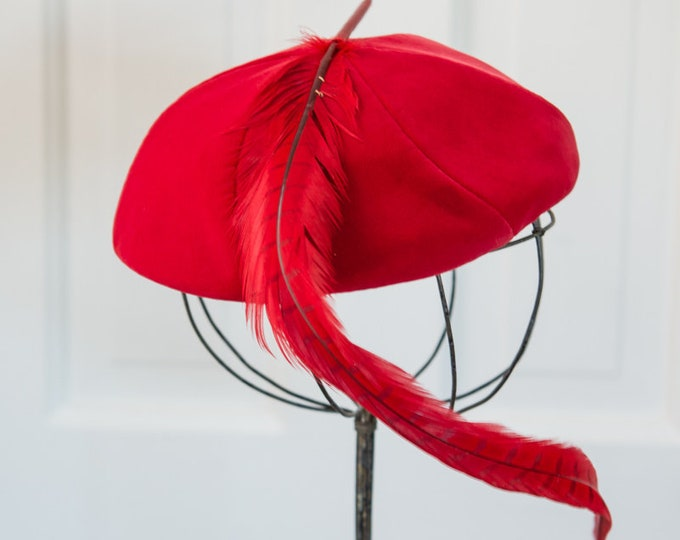 Vintage 50s red velvet pillbox hat with long red feather embellishment, fashion hat, The Halle Bros Co