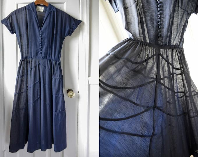 Vintage 1950s sheer navy blue party dress with full skirt, Jonathon Logan, Size XS/S