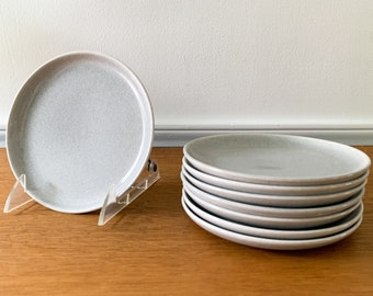 Vintage 8pc Russel Wright American Modern Granite Gray 6'' dessert plates or bread plates, MCM dinnerware