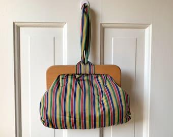 Vintage 1940s muted rainbow stripe wristlet handbag or evening bag