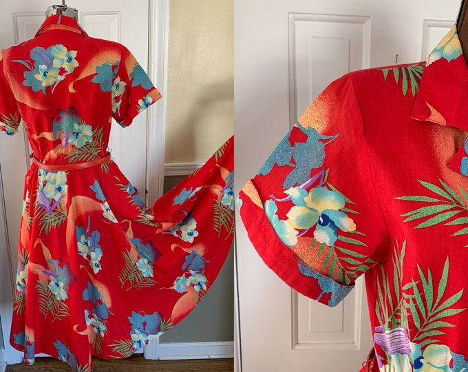 Vintage 1980s red dress with tropical floral print | Hawaiian print dress | cotton shirtwaist dress | Ursula of Switzerland | Size XS