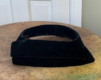 Vintage 1950s black velvet open top pillbox hat | high fashion hat | black velvet church hat | Size S - L