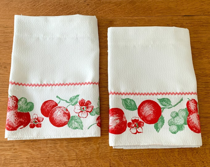 Vintage 50s 60s 2 piece white and red fruit print valance curtains, farmhouse decor