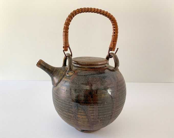 Vintage artisan made brown ball shaped pottery teapot, studio-made teapot