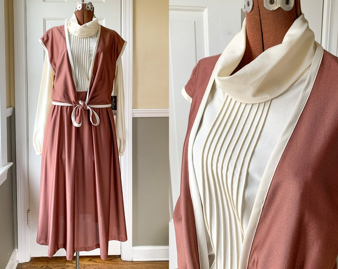 Vintage 1970s brown and cream Qiana nylon shirtwaist dress with vest and cowl neck, 70s career dress, Miss Sandy of California, NWT, Size M