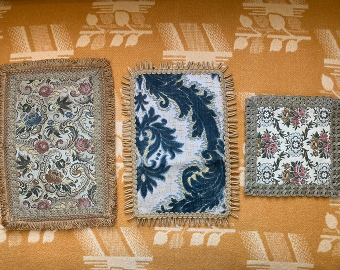 Vintage collection of 3 tapestry dresser doilies with metallic threads, trim and fringe | floral dresser scarf