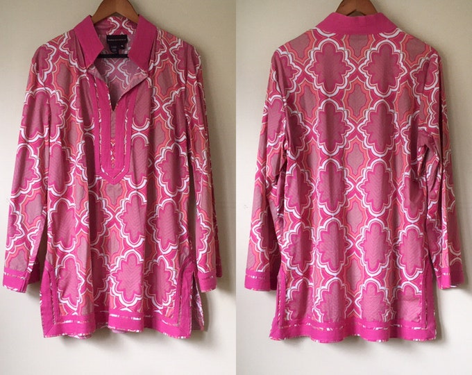 Dana Buchman pink and peach cotton tunic in window pain pattern and woven trim | vacation clothing | Size XL