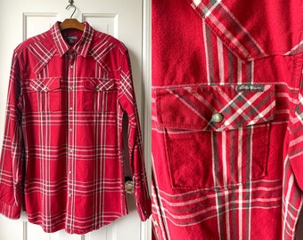 Eddie Bauer red plaid western shirt with snap buttons, western wear, cowboy fashion, Size Tall/L