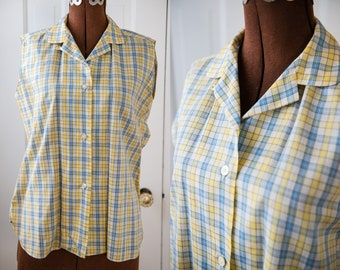 Vintage 60s blue & yellow plaid cotton sleeveless blouse, Sz M