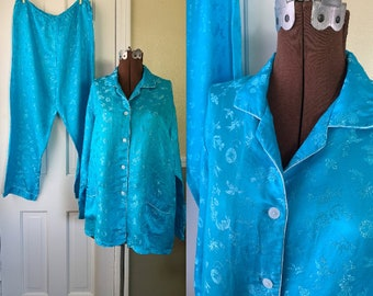 Vintage sky blue 100% silk Asian print lounging pajamas, made by Esme, Made in China, Size XL
