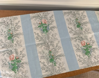 Vintage 1970s kingsize pillowcase with pink roses & forget-me-nots, made by Fieldcrest Perfection