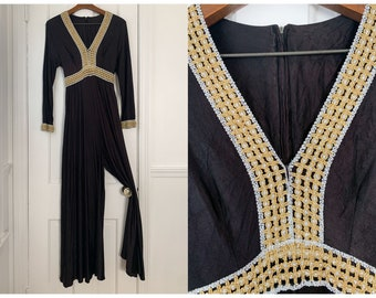 Vintage 60s 70s black long sleeve jumpsuit with metallic trim, Sz S/M