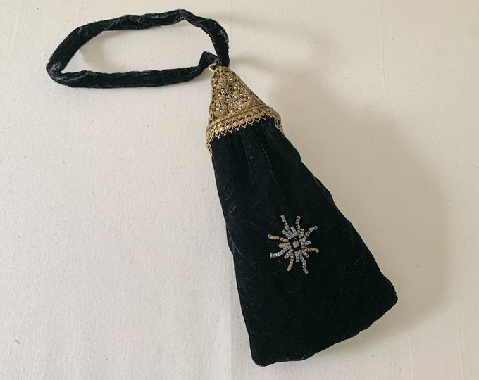 Edwardian black velvet pouch style wrist purse with ornate metalwork and beading