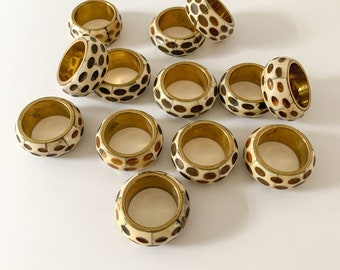 Vintage 13 pc set of bone and brass napkin rings, tropical decor, African decor