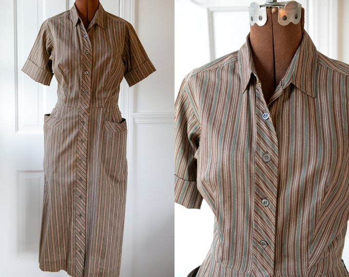 Vintage 1950s brown striped short sleeve button-up dress with pockets, Swiss-ette, Size S