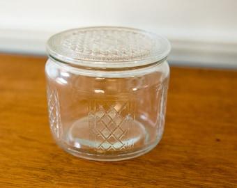 Vintage covered glass dresser jar, powder jar, trinket jar, refrigerator dish