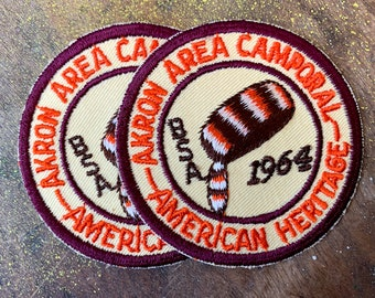 Vintage pair of 1960s Boy Scouts of America patches, Akron Area Camporal American Heritage, collectible embroidered patches