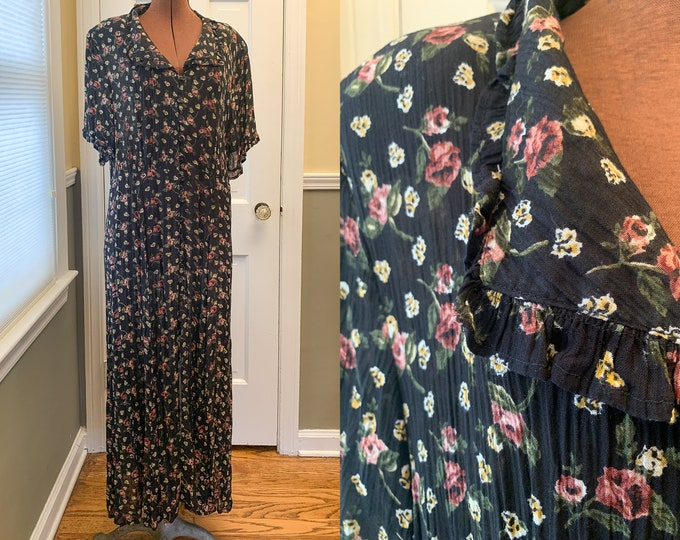 Vintage 1980s midi/maxi black floral dress with ruffled details and long row of buttons, made by Shades, Size L