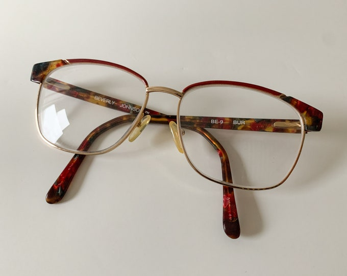 Vintage Beverly Johnson burgundy & gold tortoise horn rim eye glasses BE-9 BUR