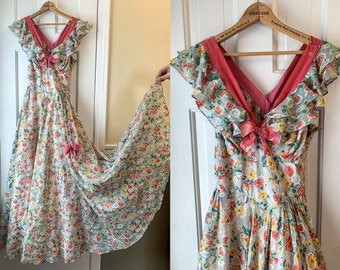 Vintage 1940s floral full length ball gown with velvet trim and ruffled neckline, debutante formal, vintage prom dress, Size XS