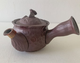 Vintage Japanese artisan made small pottery teapot with peek-a-boo steam birdie, handmade teapot