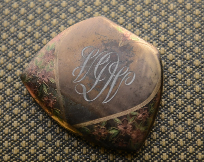 Vintage 1940s Elgin American monogramed and floral etched gold powder compact | made in USA
